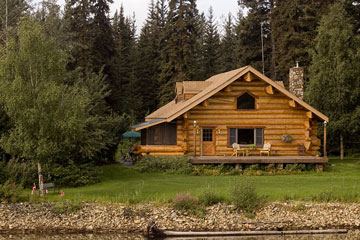 log cabin along the Chena River near Fairbanks, Alaska