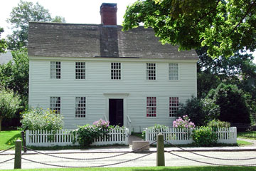 two-story colonial style house at Mystic Seaport, Connecticut