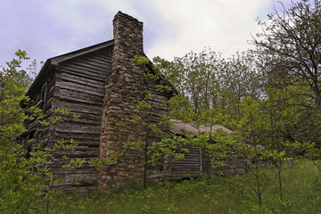 stone chimney on abandoned West Virginia cabin